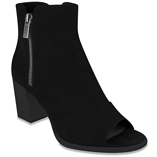 Mari A AXLE 2 Dress Ankle Boot Bootie Peep Toe 8 Black Faux Suede (Baby Trend Rain Cover compare prices)
