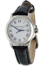 Raymond Weil Women's 5378-STC-00300 Tradition Stainless Steel Case Black Leather Strap with Crocodile Pattern Watch