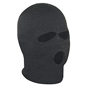 TRIXES Black Balaclava SAS Style 3 Hole Mask Neck Warmer Paintball Fishing