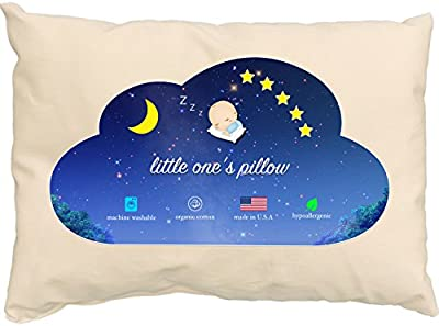 Toddler Pillow - Delicate Organic Cotton Shell - Soft and Supportive Pillows for Kids, Hand-Crafted for Better Naps and a Restful, Soothing Sleep Every Time! (13 in x 18 in)