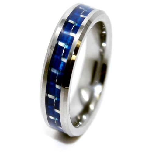Blue Chip Unlimited - Unique 6mm Blue Carbon Fiber Tungsten Ring Wedding Band Designer Fashion Engagement Ring Sizes H - Z