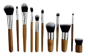 MY LIFE 11 Pcs Bamboo Makeup Brush Set Kabuki Powder Foundation blusher Cosmetic Bamboo Handle