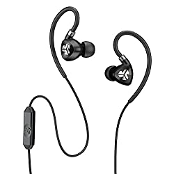JLab Fit 2.0 Sport Earbuds, Sweatproof and Water Resistant with In-Wire Customizable Earhooks - Black