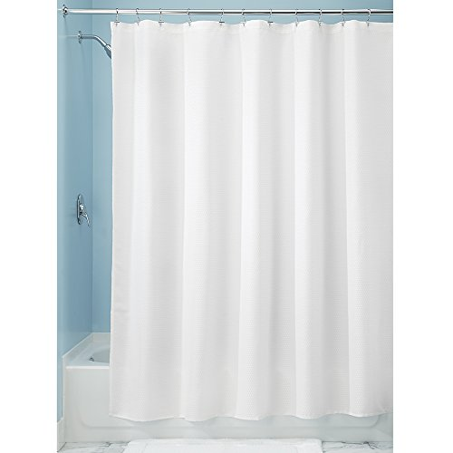 InterDesign Paxton Fabric Shower Curtain, Luxury Hotel - Long 72 x 84, White (Hookless Shower Curtain Waffle compare prices)