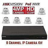 Hikvision DS-7608NI-E2/8P 8CH 8 POE NVR & 6pcs DS-2CD2342WD-I 2.8mm 4MP POE Turret Camera Kit