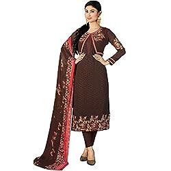 Vasu Saree Georgette Brown Embroidered Churidar Designer Suit