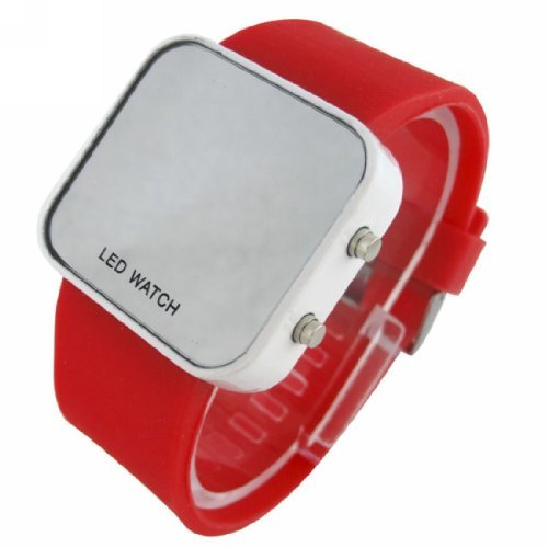 Red LED Mirror Digital Sport Watch Red Unisex for Men and Ladies Silicone Jelly Band-Red
