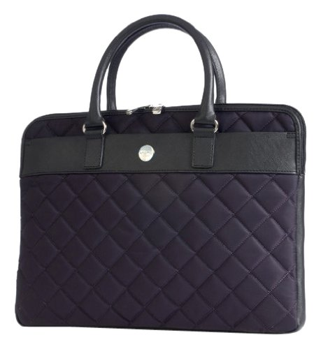 Knomo Avignon Quilted Extra Slim Laptop Brief (Bayswater) (Eggplant) back-587788