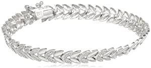 Sterling Silver Diamond-Accent Chevron Bracelet by Amazon Curated Collection