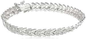Sterling Silver Diamond-Accent Chevron Bracelet