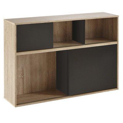 Demeyere 211515 Slide Regal mit 2 schwarzen Schiebetüren aus Spanplatten dekoriert, Breite 116,9 x 78,5 x 30 cm, Korpus in eiche