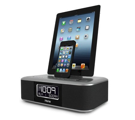 Ihome Dual Alarm Clock Radio For Ipad, Iphone And Ipod With Two Flexible Lightning Docks For Iphone 5 And A Usb Port, Includes 6 Fm Presets, Eq Controls And 3D Sound And Reson8 Sound, With Auto Sync Feature With Two Separate Alarms For Different Times On
