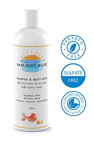 Baja Baby Citrus Shampoo and Body Wash - 16 fl oz - FREE of Sulphates, Parabens and Phosphates - Organic, Natural Baby Wash - Gentle for Kids of All Ages - From our Honest Company to Your Happy Home (1 Bottle)