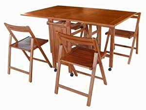 INDOOR ANTIQUE HIDEAWAY TABLE & CHAIRS