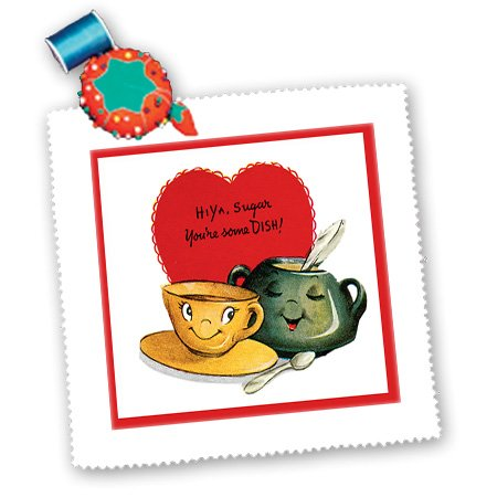 Qs_170258_2 Bln Vintage Valentines Day Designs - Hiya Sugar Youre Some Dish Cute Sugar Blow And Coffee Cup - Quilt Squares - 6X6 Inch Quilt Square