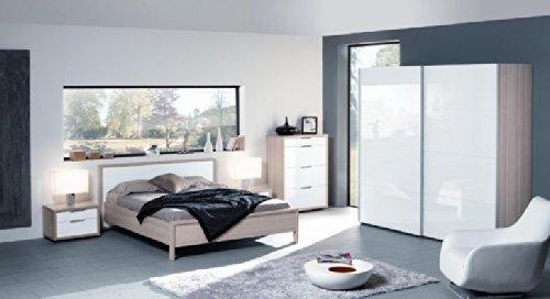 Camera da letto matrimoniale componibile completa color frassino e laccato bianco lucido