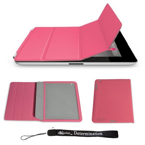 Pink Protective Four Folded Smart Slim Case Cover Adjustable Stand for Apple IPAD 2 Newest Model + Includes a eBigValue (TM) Determination Hand Strap Key Chain