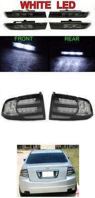 04-08 Acura Tl Black/Clear Tail Lights + Smoked 4 Piece White Led Side Marker Lights - Type-S