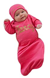 Candy Shop Kids Baby Girls\' Fancy Gown and Hat Set 0-3 months Fuchsia/Gold