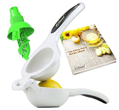 Premium Enameled Aluminum Double Bowl Lemon Squeezer Bundle, Professional Manual Citrus Juicer with a Quality Sprayer (Plastic Lemon Juicer Sprayer compare prices)