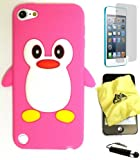 BUKIT CELL (TM) Apple iPod Touch 5 Penguin Silicone Case (HOT PINK) + BUKIT CELL Trademark Lint Cleaning Cloth + Screen Protector + WirelessGeeks247 METALLIC Touch Screen STYLUS PEN with Anti Dust Plug