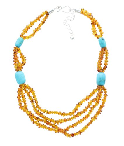 Turquoise and Amber Necklace By Jay King