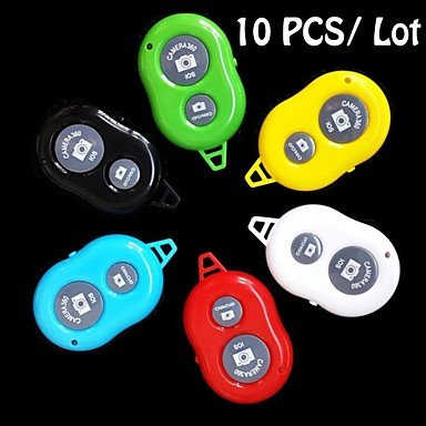 Ty 10 Pcs Bluetooth Remote Control Self Timer Camera Shutter For Ios Android Phone (Assorted Colors) , Red