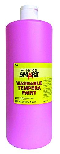 School Smart 1439217 Washable Tempera Paint, 1 quart Plastic Bottle, Pink