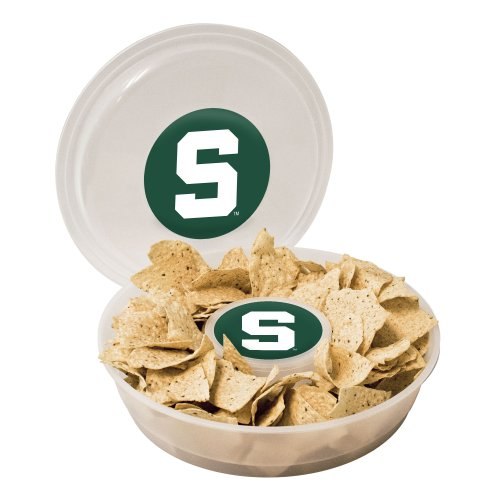 NCAA Michigan State Spartans Plastic Chip and Dip Container, Clear