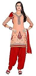 Rahi Women's Cotton Salwar Suit Material (Orange and Red)