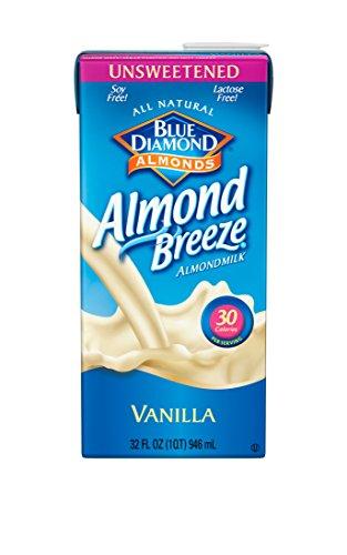 Blue Diamond Dairy Free Almond Breeze Almondmilk, Unsweetened Vanilla, 32 Ounce (Pack of 12)