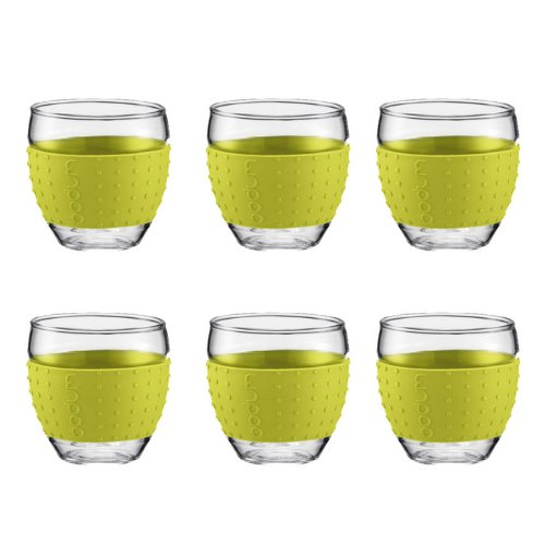 Bodum Pavina Glasses 3 Ounce With Thermo Silicone Grip, Set Of 6 - (Lime Green)