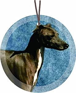 Kerry Blue Terrier Dog Round Glass Christmas Tree Ornament Suncatcher - Affordable Gift for your Loved One! Item #CFS-GO-328