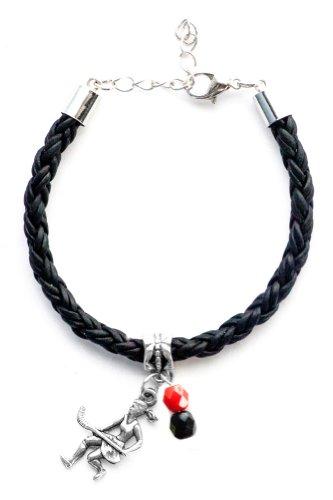 """Field Hockey Girl"" Braided Leather Field Hockey Bracelet (Team Colors Red & Black)"