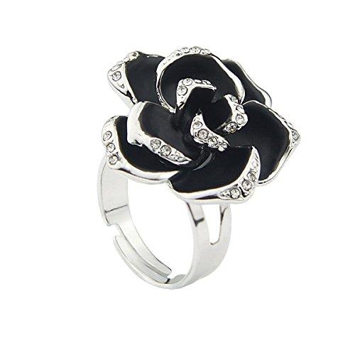 Le Premium® - elegante nero placcato oro rosa bianco anello moda (misura regolabile)