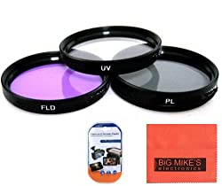 52mm Multi-Coated 3 Piece Filter Kit (UV-CPL-FLD) For Pentax 18-55mm f/3.5-5.6 AL WR Zoom Lens + MicroFiber Cleaning Cloth + LCD Screen Protectors