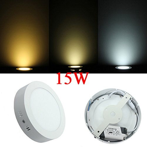 15W Round Led Panel Wall Ceiling Down Lights Mount Lamp Ac 85-265V