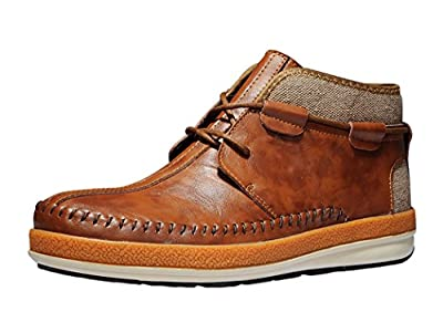 Serene Mens Leather Fur Lining Sewing Lace-up Chukka Boots