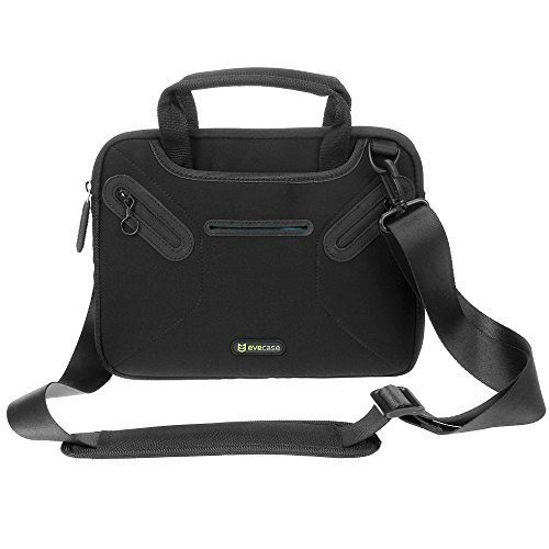 Evecase 8.0 ~ 9.7 Inch Multi-functional Fully Padded Neoprene Messenger Briefcase Case with Handle and Shoulder Strap - Black