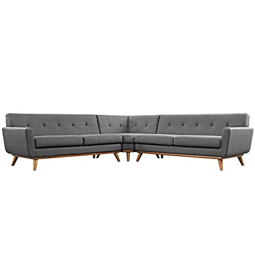 LexMod Engage L-Shaped Sectional Sofa, Gray