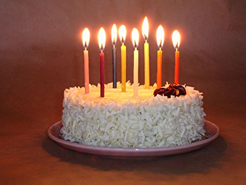 B-day - 24 pure beeswax birthday candles, rainbow mix - 1