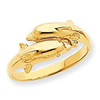 14k Gold Double Dolphin Ring