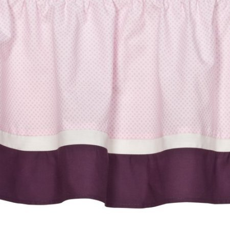 Tiddliwinks Crib Dust Ruffle- Plum Butterfly - 1