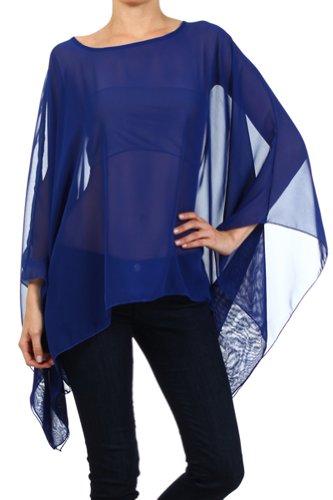Modern Kiwi Solid Sheer Chiffon Caftan Poncho Tunic Top Royal Blue One Size