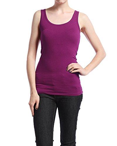 TheMogan Women's Soft TANK TOP Basic Layering Tee Shirts - Plum - Large