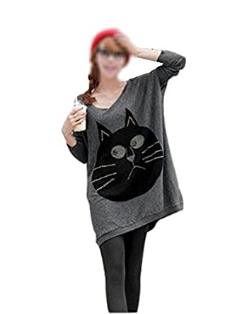Woman Big Cat Face Batwing Oversized Baggy Jumper Knitwear Dress UK 8 - 16 (One Size, Black)