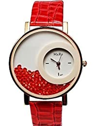 Handcuffs Stylish Rhinestone Red Dial Watch With PU Leather Strap For Women