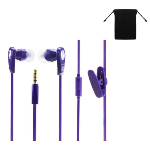Premium 3.5Mm Stereo Handsfree Headset Earbuds Earphones Headphones For Amazon Kindle Fire Hd 8.9 ( Purple ) W/ Anti-Tangle Flat Wire + Carry Bag
