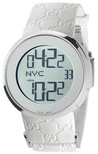 Gucci Gucci Quartz White Rubber Band Silver Dial - Women's Watch Ya114403