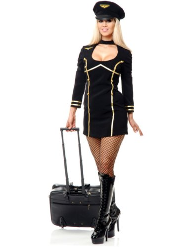 Womens Sexy Black Fly Me Airline Stewardess Pilot Costume